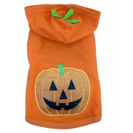 Simply Dog Hoodie Costume Orange Glittery Pumpkin Fleece Pet Outfit Shirt