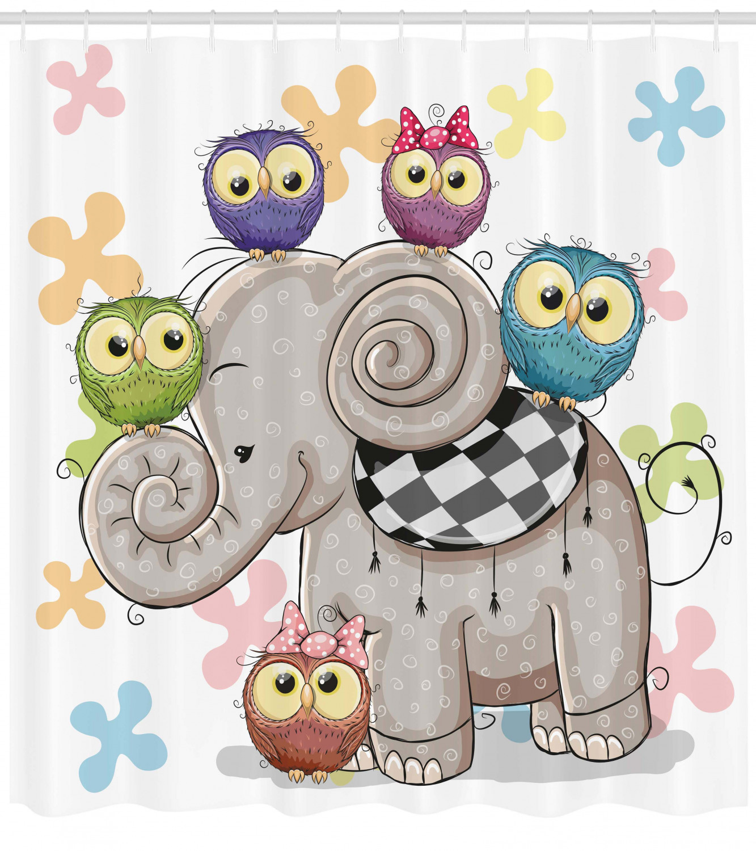 Cartoon Decor Cute Cartoon Elephant And Owls On A Floral
