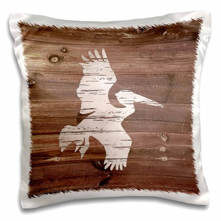 3dRose White Painted Flying Pelican on Brown Weatherboard- Not Real Wood - Pillow Case, 16 by 16-inch ()