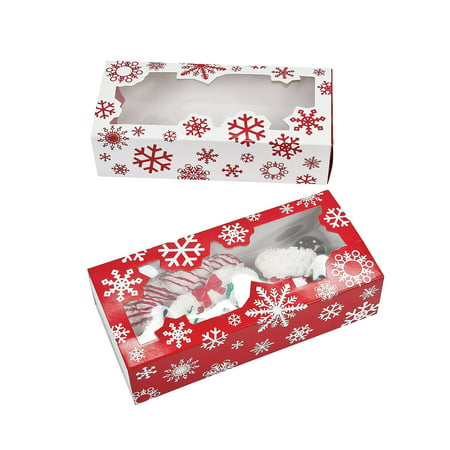 Fun Express - Snowflake Cookie Boxes for Christmas - Party Supplies - Containers & Boxes - Paper Boxes - Christmas - 12 Pieces ()