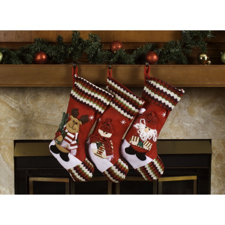 Imperial Home Classic 3D Christmas Stockings 18-inch Santa Claus & Friends Xmas Stockings (Pack of 3) - Pack Of Christmas Stockings