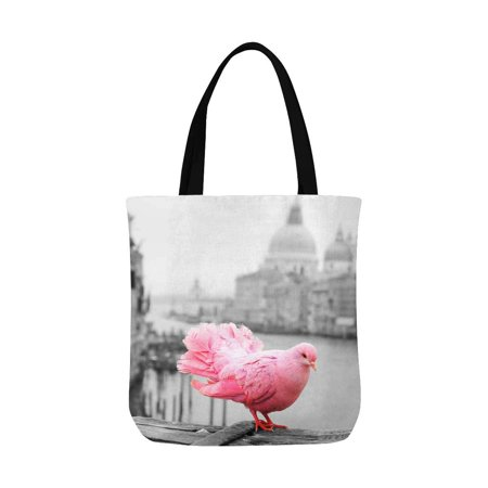 ASHLEIGH Fantasy Pink Pigeon On Bridge Railing in Venice Italy Washable Canvas Tote Bag Resuable Grocery Bags Shopping Bags Canvas Tote Bag Perfect for Crafting Decorating