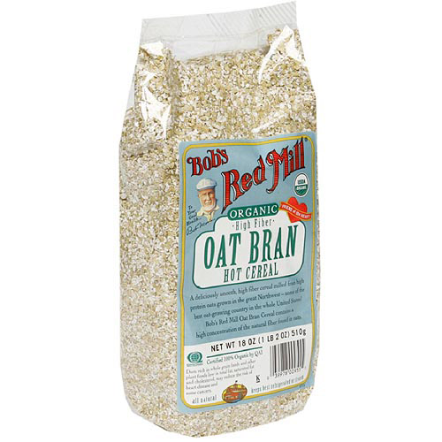 Bob's Red Mill Organic Oat Bran High Fiber Hot Cereal, 18 oz (Pack of 4)