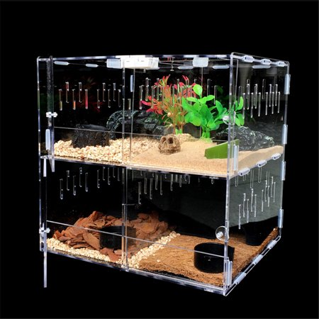 Meigar Reptile Acrylic Turtle Pet Insect Spider Lizard Breeding Tank Kit Clear House (Lizard Supplies)