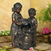 """John Timberland Outdoor Floor Water Fountain with Light LED 23"""" High Boy and Girl for Yard Garden Patio Deck Home"""