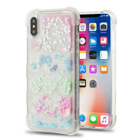 Tuff Lite Quicksand Glitter Transparent Case for iPhone XS / X - Semicircle - Case Soft Partition