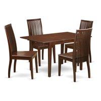East West Furniture NOIP5-MAH-W 5 Piece Dinette Set