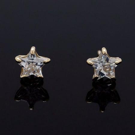 14K Yellow Gold Star Shape Created Diamond Push Back Stud Earrings 4mm