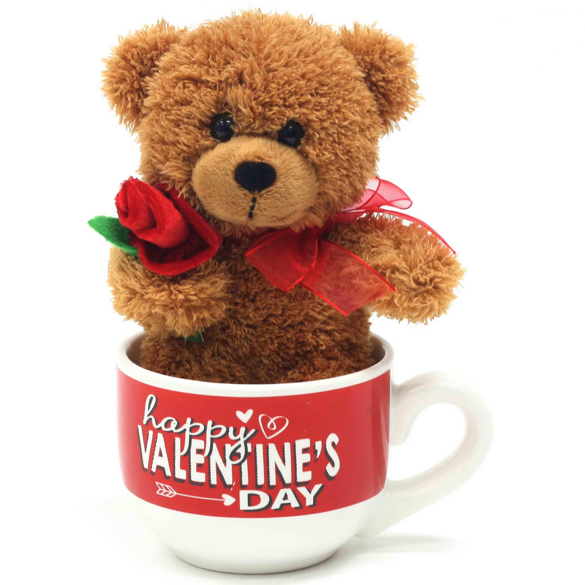 Valentine Brown Plush Teddy Bear With Plush Rose Latte Mug Set   Walmart.com