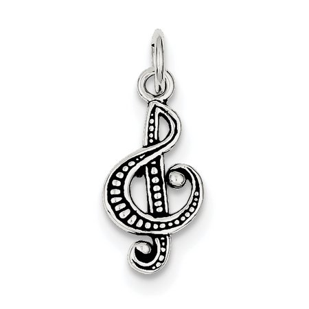 Sterling Silver Antiqued Music Note Charm QC7782