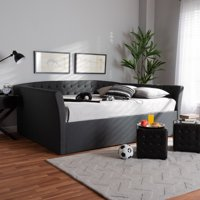 Baxton Studio Delora Modern and Contemporary Dark Gray Fabric Upholstered Queen Size Daybed