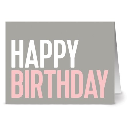 24 Note Cards - Blush Birthday Wish - Blank Cards - Hot Pink Envelopes Included