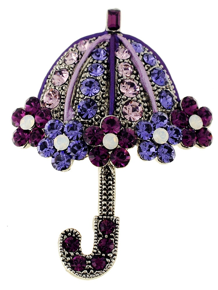 Purple Flower Umbrella Amethyst Swarovski Crystal Pin Brooch by