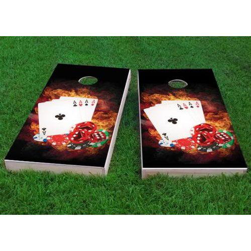 Custom Cornhole Boards 4 Card Stud Poker Cornhole Game (Set of 2) by Custom Cornhole Boards