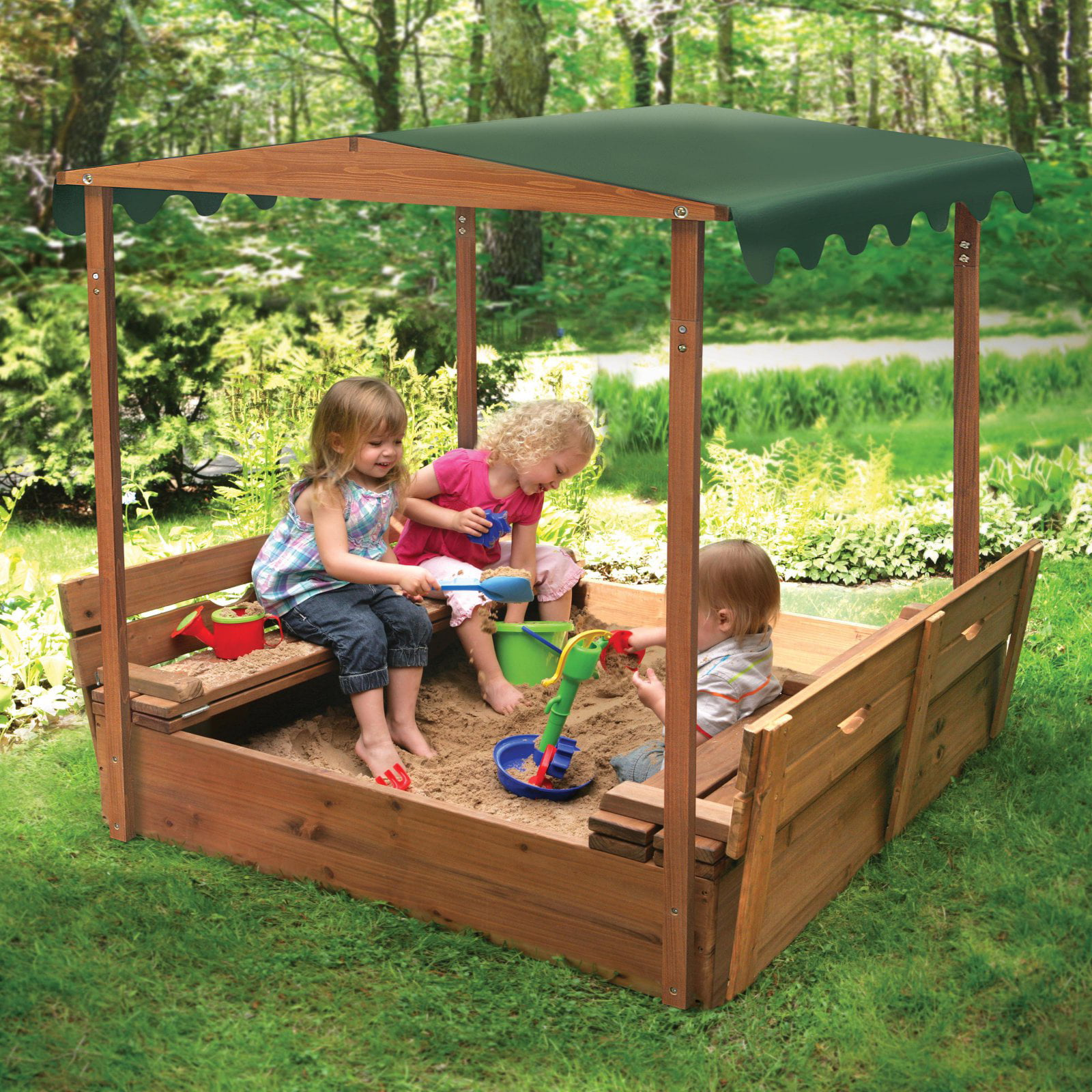 Badger Basket Covered Convertible Cedar Sandbox with Canopy and 2 Bench Seats by Badger Basket