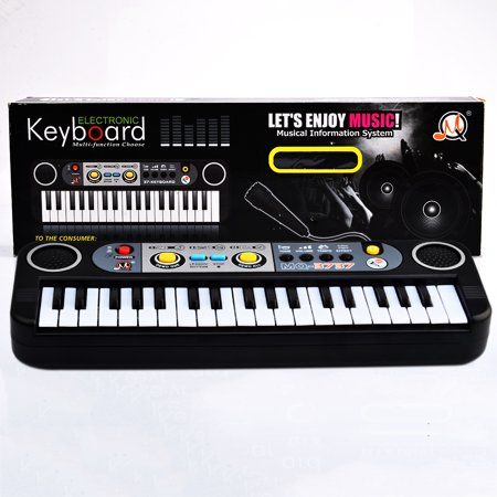 37 Key Kids Small Electronic Keyboard Piano Musical Toy Mic Records for Children Music Education - Black](Halloween Musical Chairs Music)