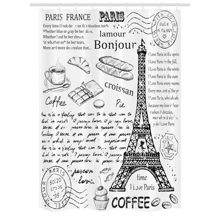 Paris Stall Shower Curtain, Traditional Famous Parisian Elements Bonjour Croissan Coffee Eiffel Tower Print, Fabric Bathroom Set with Hooks, 54W X 78L Inches, Black White, by Ambesonne (Parisian Themed Bridal Shower)