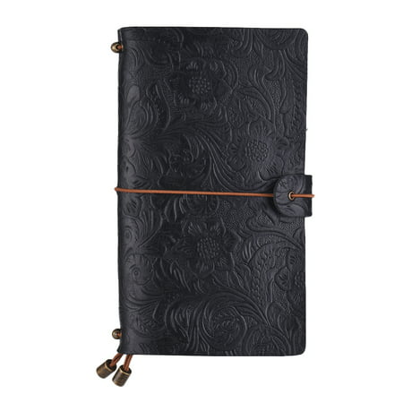 Vintage Full Grain Leather Refillable Travel Journal Notebook Diary Embossed Flower Pattern Daily Notepad Cover with Elastic Strap for Men & Women (Embossed Flower Leather Journal)