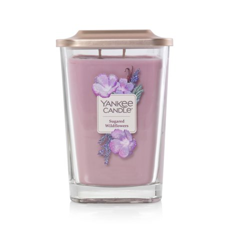 Yankee Candle Sugared Wildflower Elevation Collection with Platform Lid - Large 2-Wick Square Candle