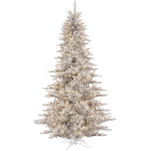 "Pre-Lit 3' x 25"" Fir Tree Artificial Christmas Tree, Silver, Clear Lights"