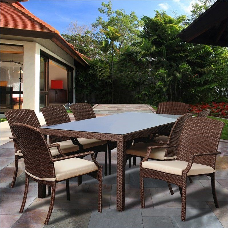 Rolland 9-Piece Brown Synthetic Wicker Patio Dining Set w/Cushions
