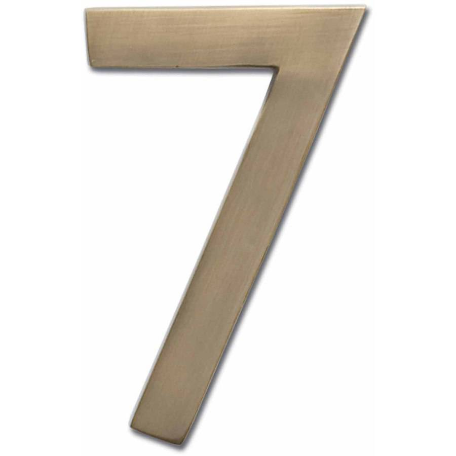 """Architectural Mailboxes 4"""" Brass Floating House Number, Polished Brass, 7"""