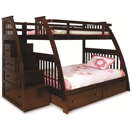 Canwood Twin Over Full Bunk Bed Built Stairs Drawers Espresso