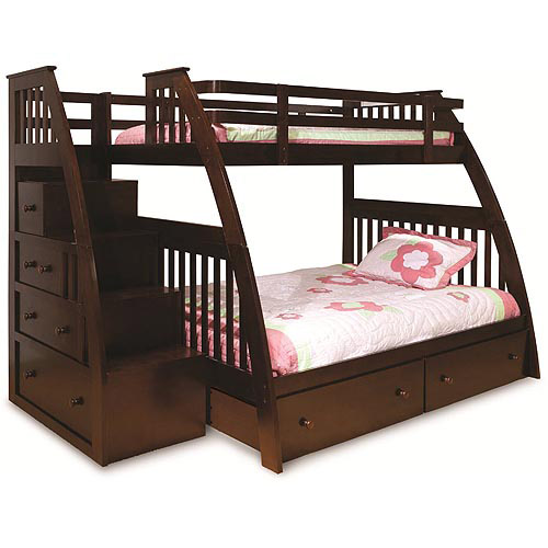 Canwood Ridgeline Twin over Full Bunk Bed with Built in Stairs Drawers, Espresso
