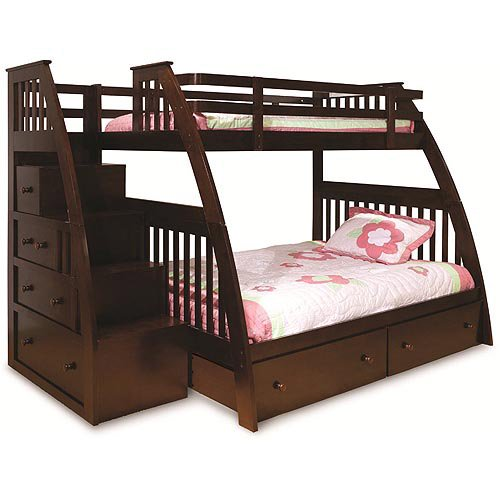 canwood ridgeline twin over full bunk bed with built in stairs drawers espresso. Black Bedroom Furniture Sets. Home Design Ideas