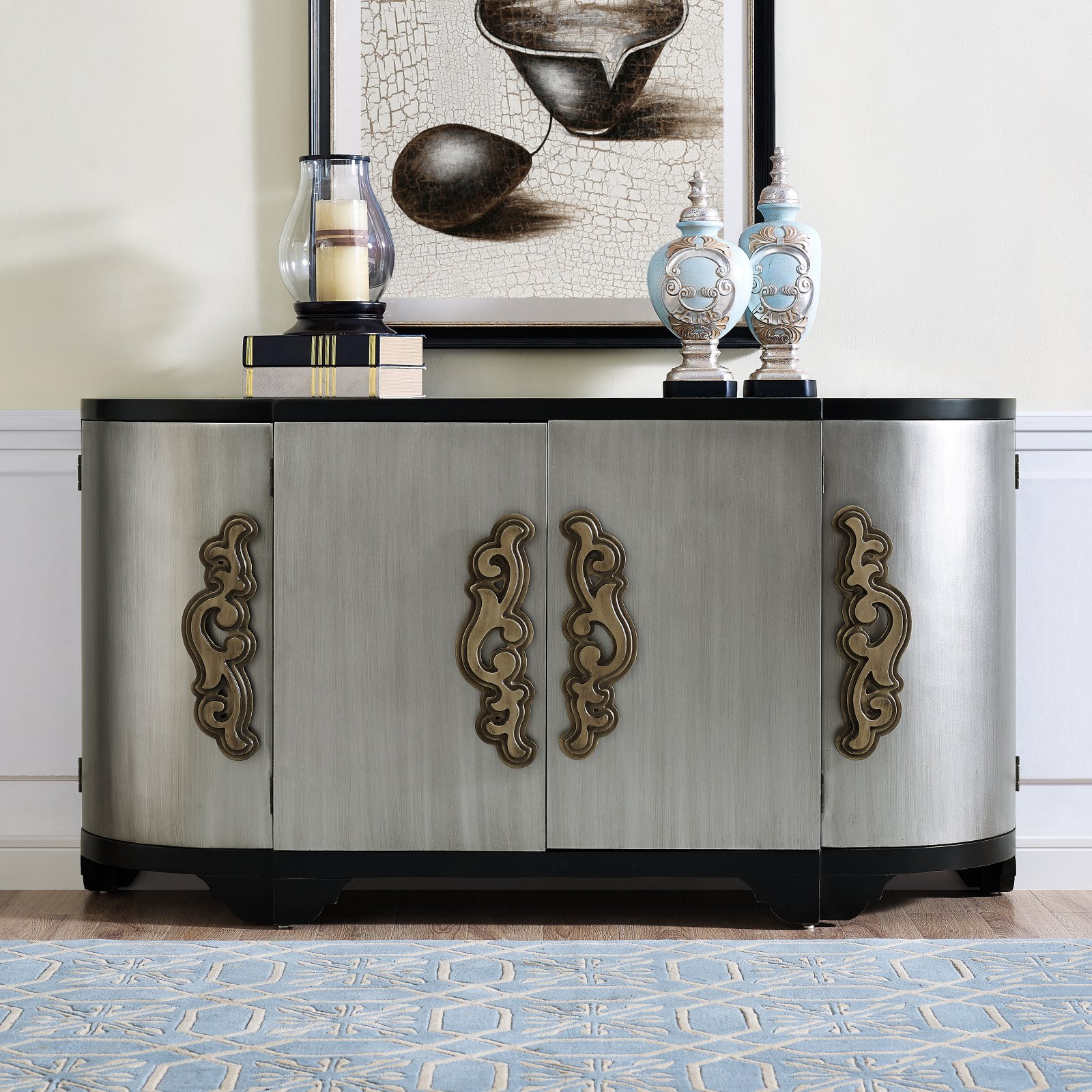 Two Tone Black and Silver Breakfront Four Door Credenza