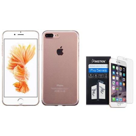 Clear Skin Ultra Gel (Insten for iPhone 7 Plus - Clear Screen Protector + TPU Ultra Slim Skin Gel Rubber Cover Case - Clear )