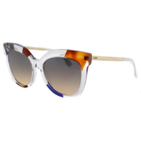 (Fendi  FF 0179 TKT Jungle Crystal Gold Plastic Square Sunglasses Brown Gradient Lens)