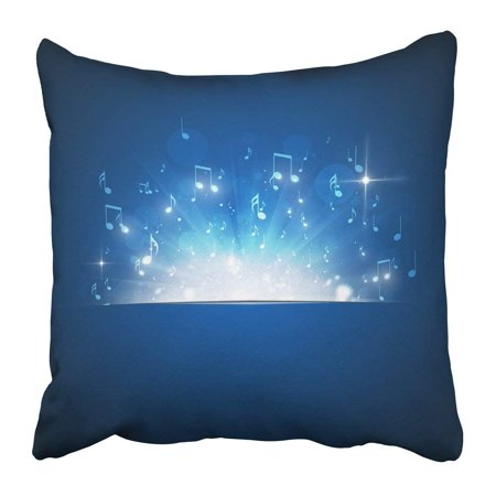 ARTJIA Abstract Music Notes Explosion with Lights and Bokeh Blue Sound Event Party Dancer Nightclub Dance Pillowcase 20x20 inch