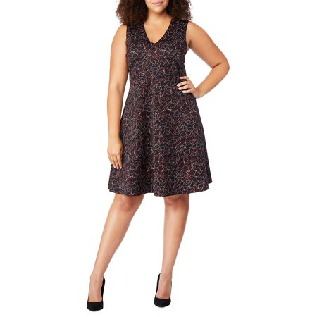 Plus Abstract-Print Fit-&-Flare Dress
