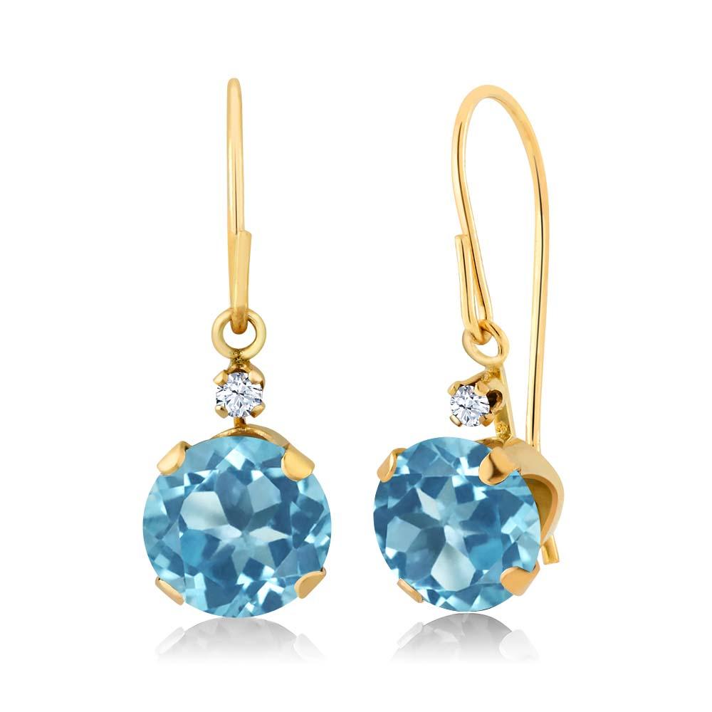 2.03 Ct Round Swiss Blue Topaz 14K Yellow Gold Earrings