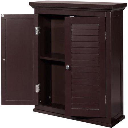Elegant home fashions sicily wall cabinet 2 shutter doors dark espresso - Dark espresso bathroom wall cabinet ...