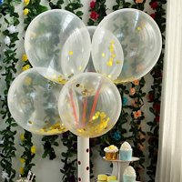 BalsaCircle 10 pcs 12-Inch Clear with Confetti Round Latex Helium Air Balloons - Wedding Events Birthday Reception Party Decorations