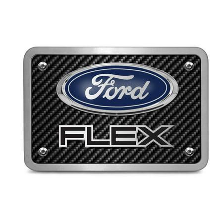 Ford Flex 3D Logo Carbon Fiber Texture Billet Aluminum 2 inch Tow Hitch Cover Logo Carbon Fiber