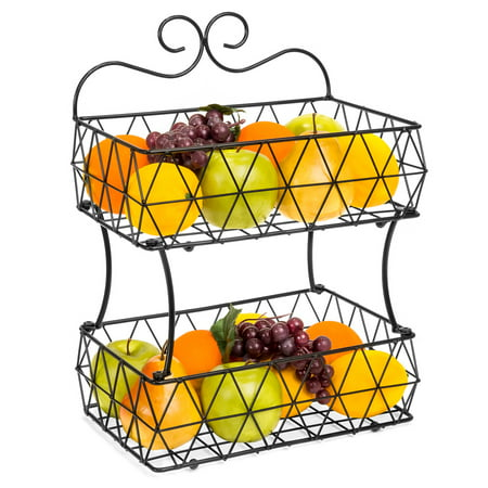 Two Tier Wire Basket (Best Choice Products 2 Tier Removable Metal Fruit Basket Stand Wire Bread Fruit Storage Rack)