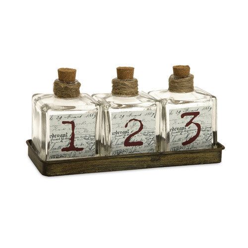 Wildon Home   Oscar Glass Bottles in Metal Tray (Set of 3)