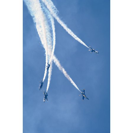 LAMINATED POSTER U.S. Navy Flight Demonstration Squadron, the Blue Angels, pilots perform the Loop Break Cross over t Poster Print 24 x 36