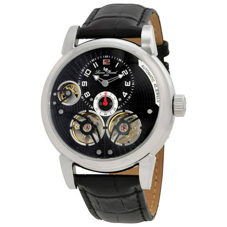 15071-01 Cosmos Auto Black Genuine Leather And Dial Ss Case - Auto Black Dial