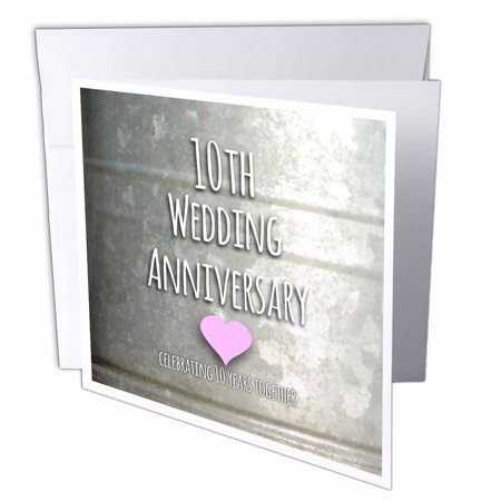 10 Year Wedding Anniversary Party Ideas (3dRose 10th Wedding Anniversary gift - Tin celebrating 10 years together - tenth anniversaries ten yrs, Greeting Cards, 6 x 6 inches, set of)