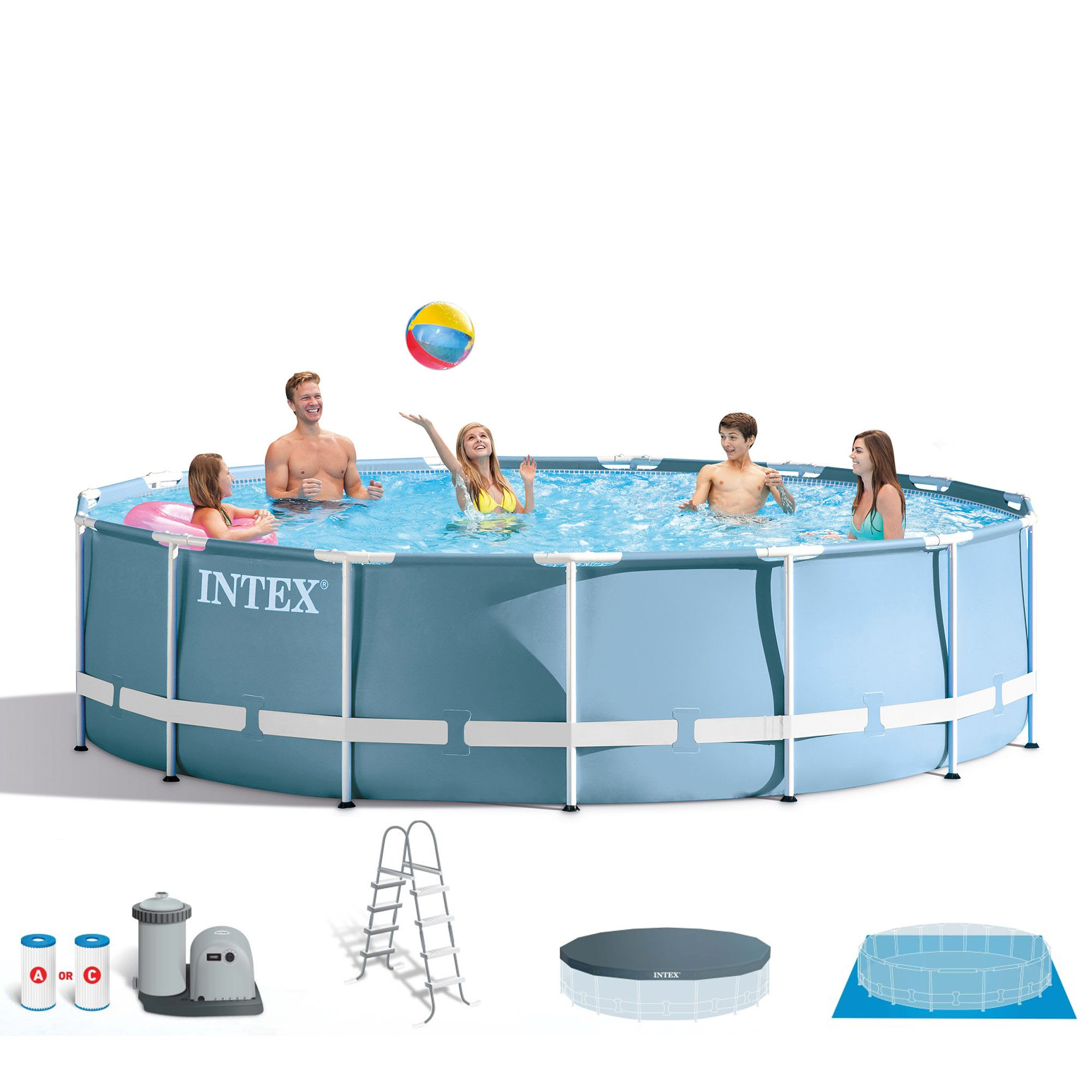 "Intex 18' x 48"" Prism Frame Above Ground Pool Pump Set and Six Filter Cartridges by Intex"