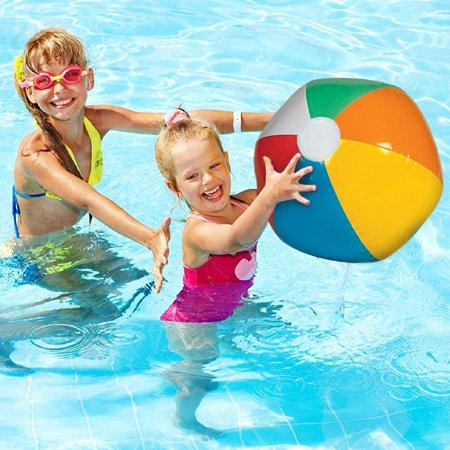24 Pack Inflatable Beach Balls - Bright Rainbow Colored Pool Toys for Kids and Adults - By Dazzling Toys - Rainbow Beach Ball