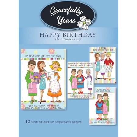 Gracefully Yours Church Kitchen Ladies 3 Times A Lady Birthday Greeting Cards Featuring Marylou Herald 12 4 Designs Each With Scripture Message