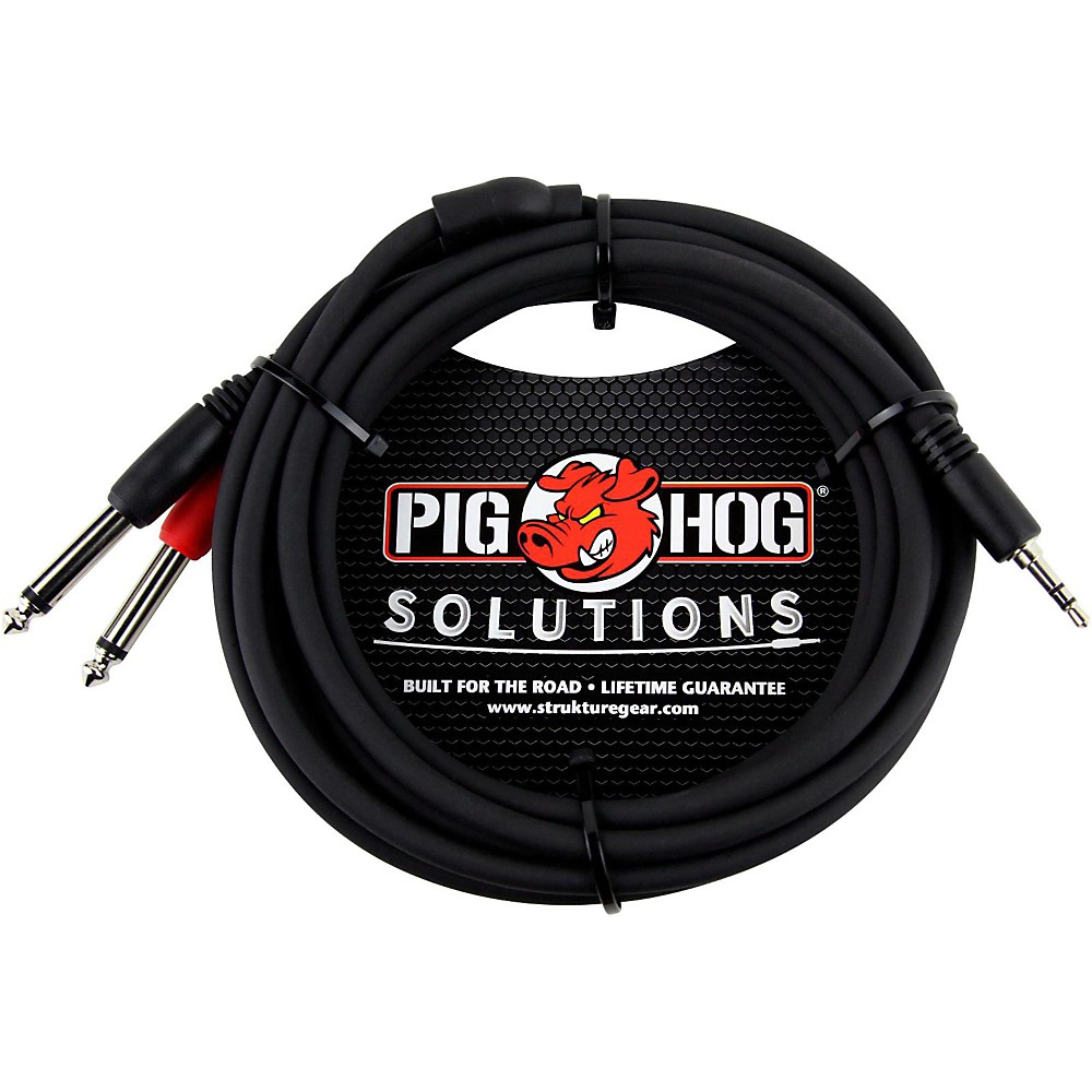 "Pig Hog Soliutions Stereo Breakout Cable 3.5mm to Dual 1/4"" (3 ft.)  10 ft."