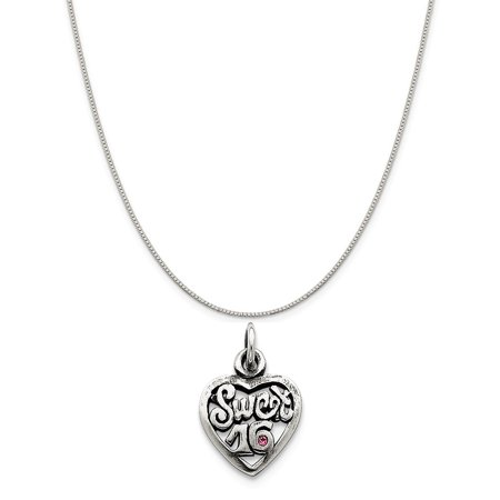Silver 14 Mm Heart - Sterling Silver Antiqued Sweet 16 Heart Charm (20 mm x 14 mm) Includes Box Chain Necklace, 16