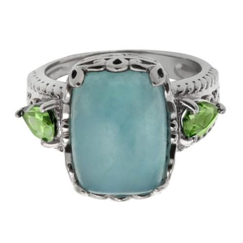 Sterling Silver 6.02ct 14x10mm Cushion Shaped Milky Aquamarine and Peridot Ring Size 7
