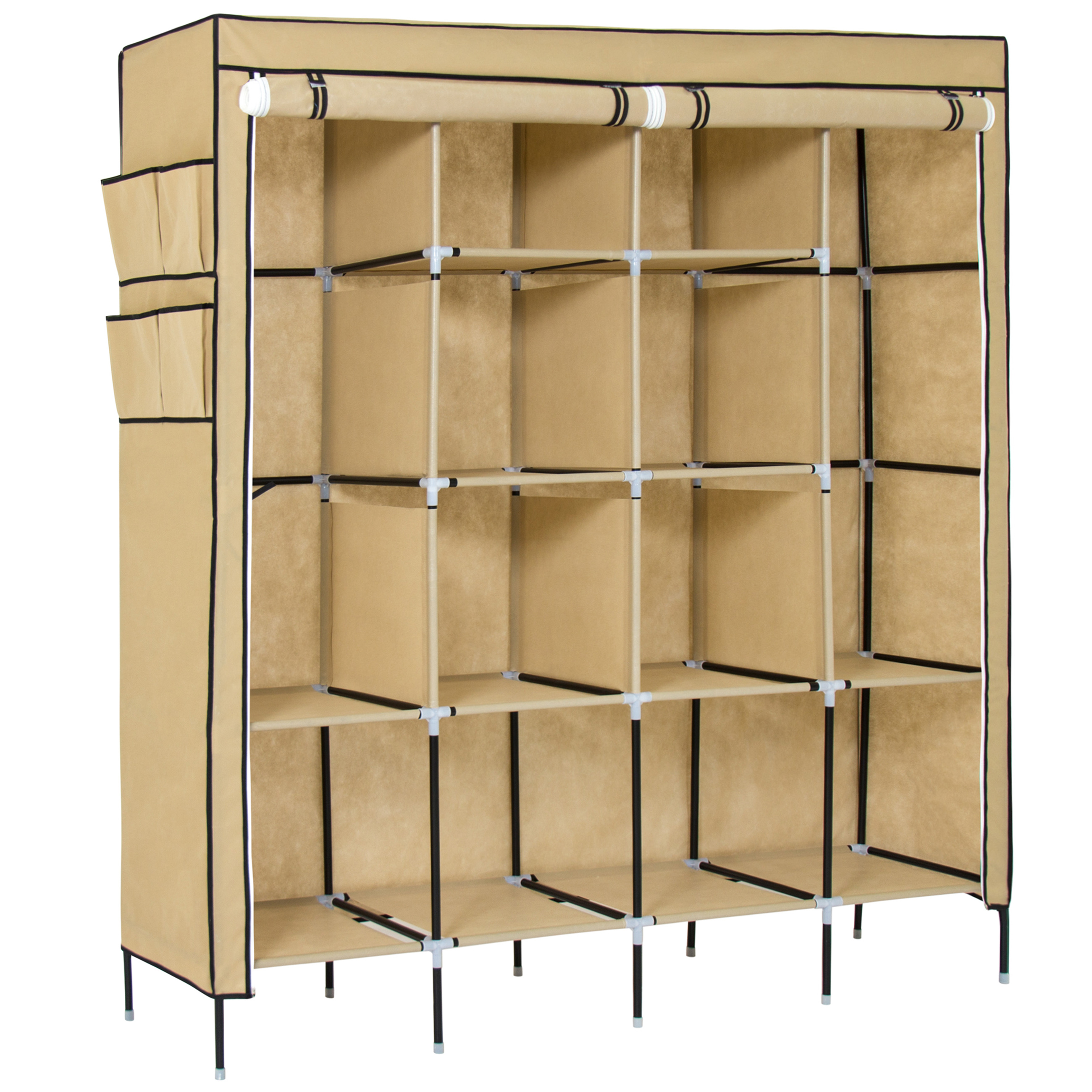 Best Choice Products Portable Fabric Closet System Wardrobe Storage Rack, Beige